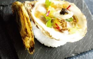Beausoleil Oyster with a champagne oyster jelly and caviar