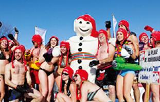 SnowBathingはケベックならでは。度胸のある人はぜひ