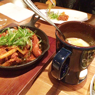 Spicy Chicken with Cheese Fondue ($12)