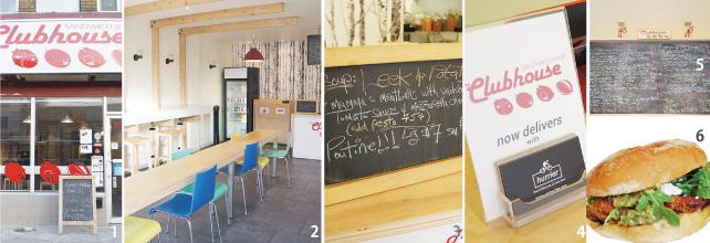 1.魚や豚の絵がキュートなお店の外観  2.白を基調としたシンプルな店内  3.本日のスープ 4.hurrierというサイトを使って宅配の注文も受け付けている 5.店内のメニューボード 6.バジルソースで和えた揚げトマトのサンドイッチ