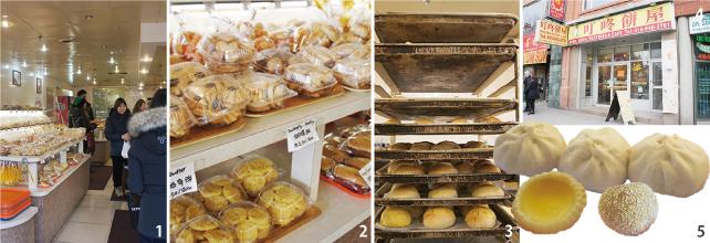 1.絶えずお客が訪れる店内  2.クッキーもパックで売られている 3.焼きたてのパンがすぐお店に並ぶ  4.かわいいキャラクターが目印のお店 5.お得な肉まん$2/3個と出来立てのエッグタルト$1/3個、小腹を満たしてくれるゴマ団子
