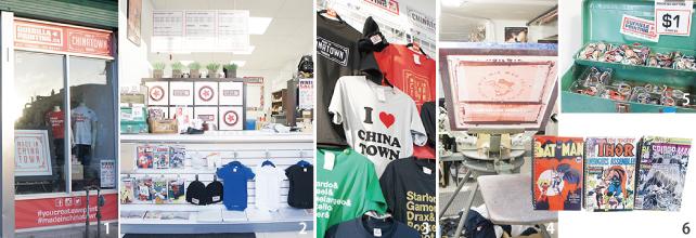 1.MADE IN CHINATOWNが目印のお店  2.店内の様子。お店の奥はオフィスとなっている  3.ユニークなデザインが施されたプリントTシャツ  4.地下の作業場ではポスターや看板などを製作している  5.スーパーマンやアメコミ風の缶バッジ$1/1個、$5/6個  6.ヴィンテージコミックが表紙のスケッチブック$6/1冊、$10/2冊