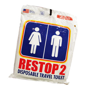 E 使用後は廃棄することができる使い捨て携帯用トイレ。 RESTOP 2 Disposal bag for solid waste $3.50