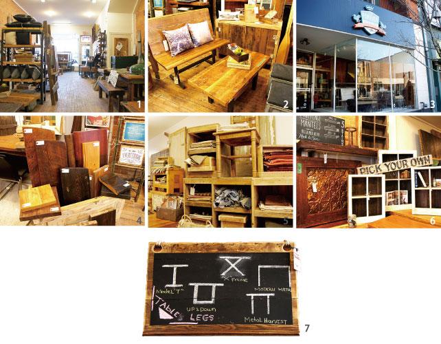 1.アップサイクルされた木製の家具は年季を感じさせる 2.木製のベンチ 3.カナダのシンボルに囲まれたロゴがポイント  4.木はコクタン材やクルミ材など好きな材料と色合いから選べる  5.椅子のカバー素材のサンプル  6.古い窓枠やドアから作られた本棚