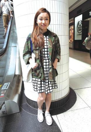 1. Ayumi / Student 2. Black Market Vintage Clothingで購入したジャケット 3. 柄×柄のスタイルにバッグはキャンバス地のトート、シューズはローカットの白のコンバース。強弱をつけたコーデがおしゃれ。
