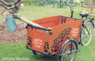 ボランティアリーダーは収穫した果物をこの三輪車で近くのフードバンクなどに届ける。