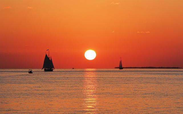 メキシコ湾に沈む夕日