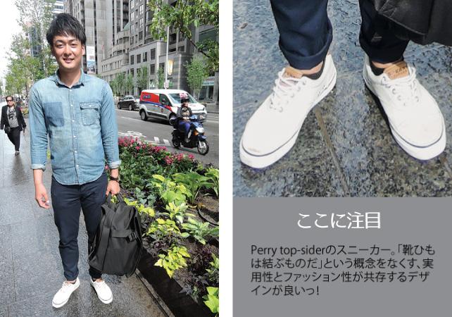 1. Takumi / Student2. Shipsのシャツ3. 爽やかなカジュアルスタイル。一見定番のデニムシャツだが、胸元をポケット型に染め残しているデザインが珍しい。Cote&Cielのバックパックは大きくてスタイルを選びそうだが、大柄の彼にお似合いだ。
