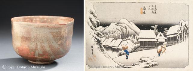 (左)野々村仁清 茶碗(江戸時代)(右)歌川広重 東海道五十三次(江戸時代)
