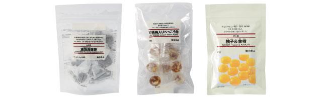 ついに食品の取り扱いスタート(左) 台湾茶 凍頂烏龍茶  $5(中央)南高梅入り べっこう飴 $3.50(右)柚子&金柑 のど飴 $2