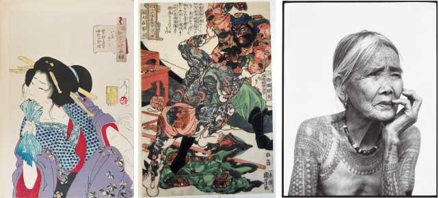 (左)Tsukioka Yoshitoshi, Woman Getting Tattoed, Royal Ontario Museum (中央) Utagawa Kuniyoshi, The Water Margin, Royal Ontario Muse(右)Fang-od Oggay (b.1920) ©Jake Verzosa, 2011