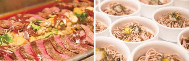 (左)和牛ステーキ  (右)3 日本産のわんこそば