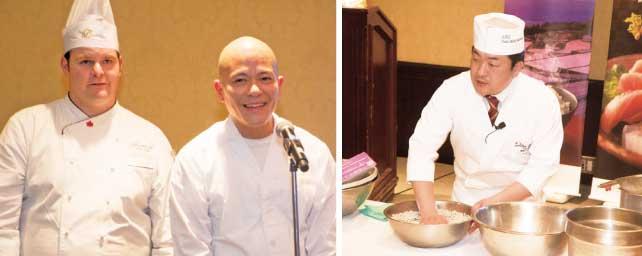 (左)ホテルのコールシェフとJRAC安西シェフ(右)小川氏による実演