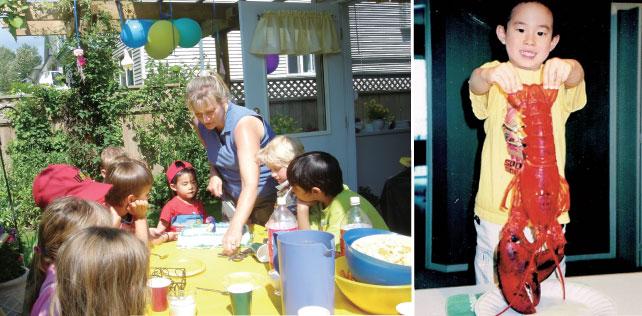 (左)5歳の時、友だちのバースデー・パーティにて (右)4歳の時、カナダへ旅行に来て、ロブスターを茹でたところ
