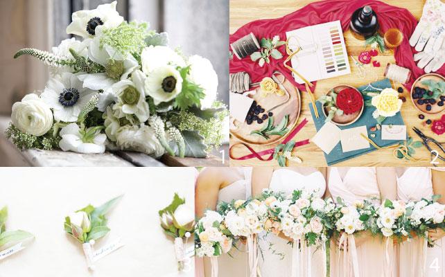 1 独特な色の組み合わせが目を引く斬新なデザイン 2 全ての花束やコサージュは念入りに色味をチェックして作られる 3 ブライダルパーティー用のコサージュ 4 バラを使った王道のブライダルブーケ