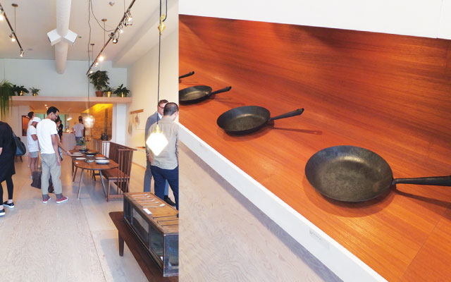 来場者はそれぞれ自由に作品を見て楽しんだ(左) / 日本では予約で数年待ちの人気フライパン(右)