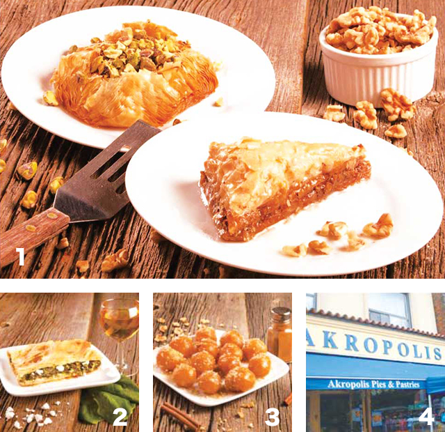 1 Baklava  2 Greek Pie 3  Loukoumades 4 外観の様子