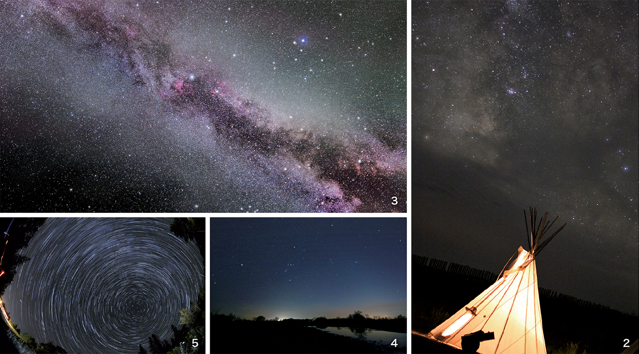 2 キャンプグラウンドで見られる星空は息を飲む美しさ / 3 数時間トロントから離れるだけで壮大な天の川が見られる / 4 冬の代表的な星座:オリオン座  / 5 本格的な星の写真を撮りたい人はキャンプ中にカメラのシャッターを開けっぱなしにすることで星の動きが写せる