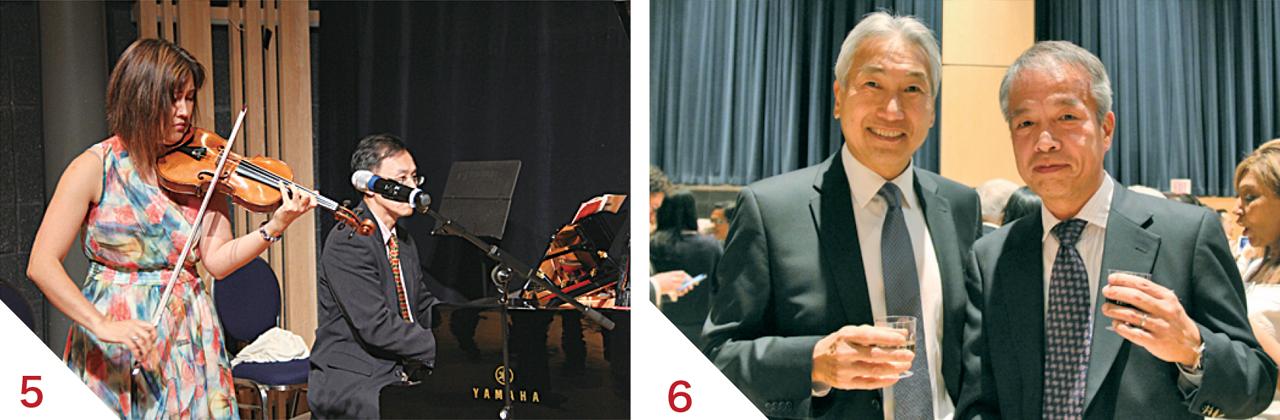 5木村悦子トロント交響楽団アシスタント・コンサート・マスターとウィリー・ウォン・トロント大学教授 6ゲーリー川口さん、丸岡利彰さん