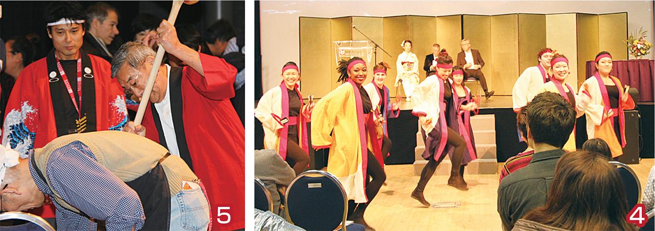 4 桜舞グループによるよさこいダンス 5 餅つき/シド池田さん