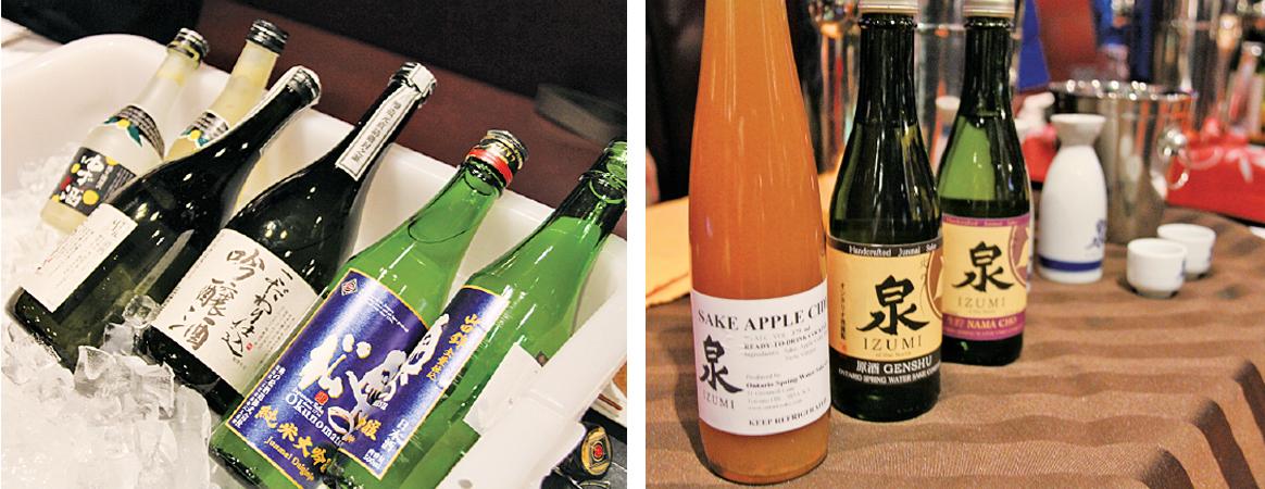 左:日本を代表する銘酒をテイスティング 右:オンタリオの地酒「泉」のアップルサイダーも美味