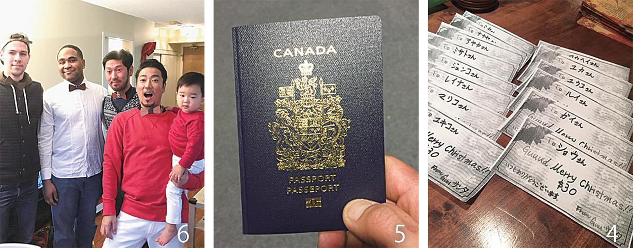 4スタッフ皆にもGuuサンタからのプレゼント 5息子のカナダパスポート。二重国籍ってなんか格好いいですよね 6スタッフへのクリスマスプレゼントは色違いでお揃いの木製蝶ネクタイ