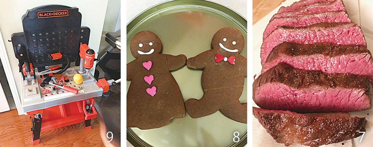 7クリスマスのメインは和牛ローストビーフ。かなりの量でお腹いっぱいでした 8ジンジャークッキーも焼きました 9息子へのクリスマスプレゼントは工具のおもちゃセット。男の子らしくなって来ました