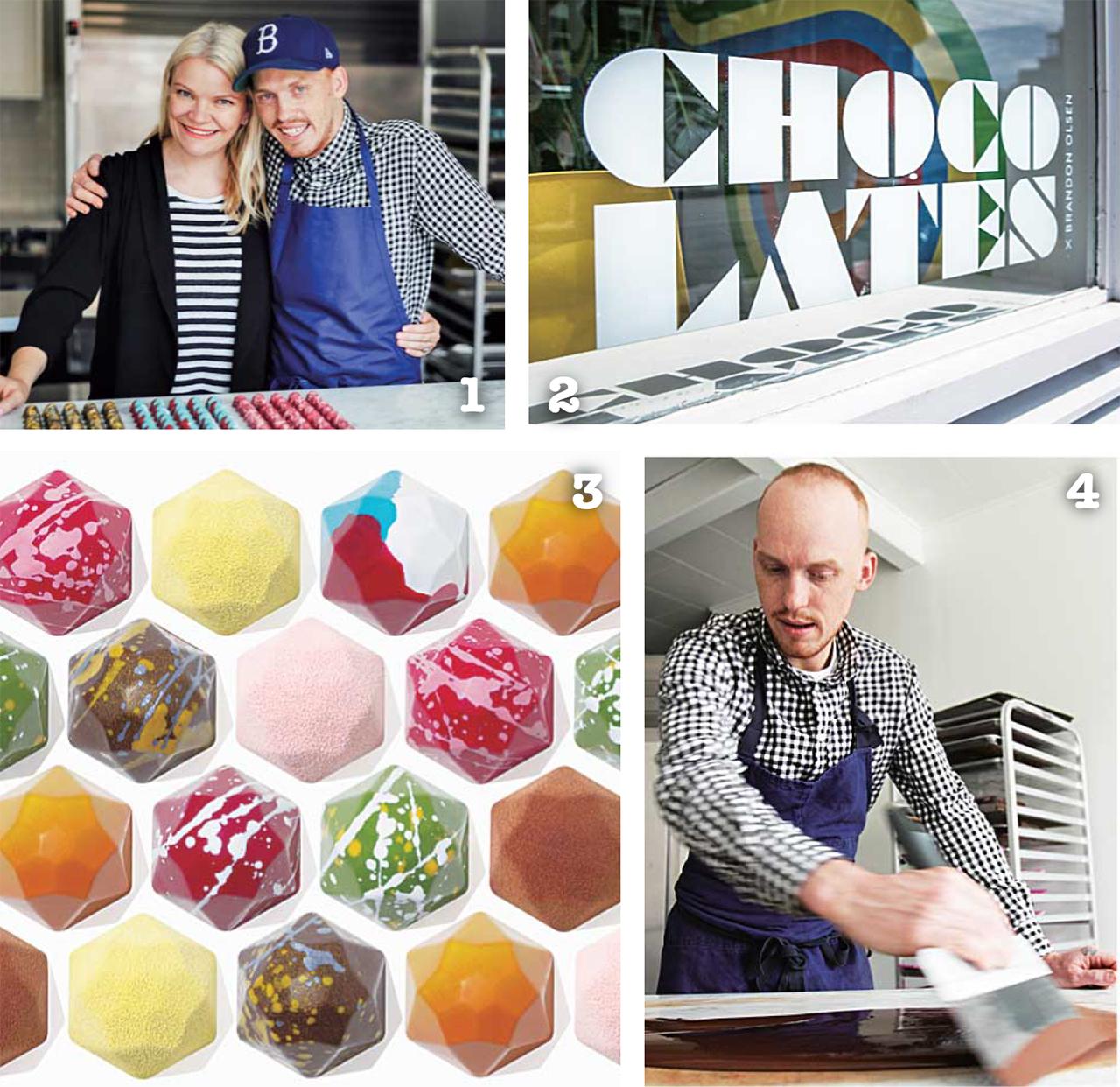 1 オーナーのBrandon Olsenさんと Sarah Keenlysideさん 2 外観から見える可愛らしいchocolateの文字  3 CXBO Classic Collection Hexagons  4 ひとつひとつ丁寧にチョコを作っています