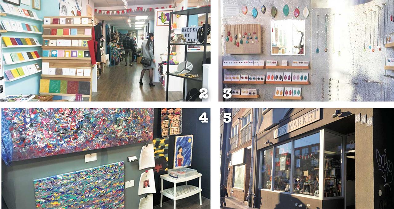 2 ゆっくりと見てまわれる広い店内  3 デザインが豊富な可愛いアクセサリーの品揃えも◎  4 アート作品も取り揃えている  5 目にとまるお店の外観