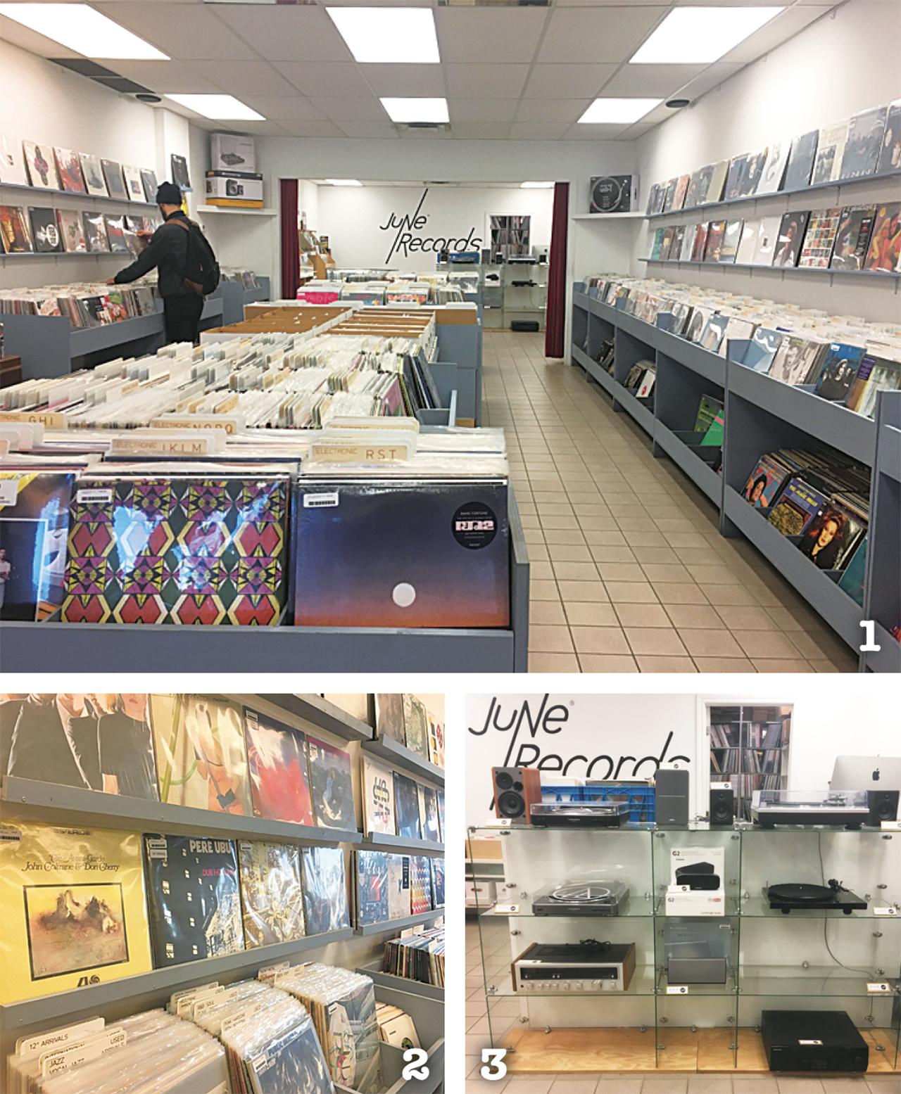 1 お店には数え切れないほどたくさんのレコードが! 2 ジャンル別に分けてあるのでお気に入りの音楽も探しやすい 3 なかなか見かけないレコードプレーヤーも!