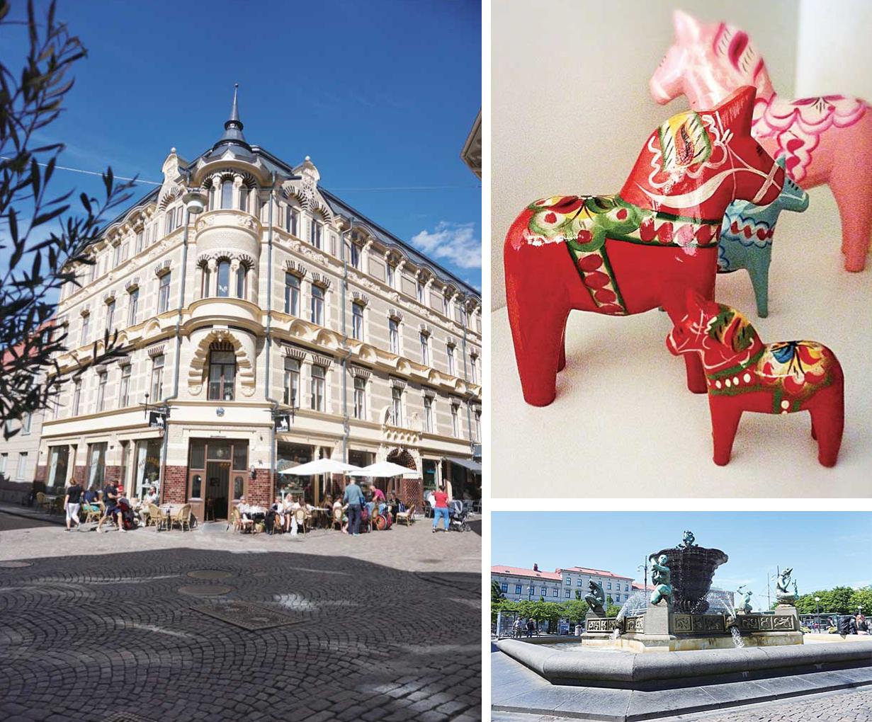 左:昔の時代からそのまま残っている建築物 右上: スウェーデンのお土産の代名詞、ダーラナホース 右下:街の中心部には西洋芸術を感じる一面も