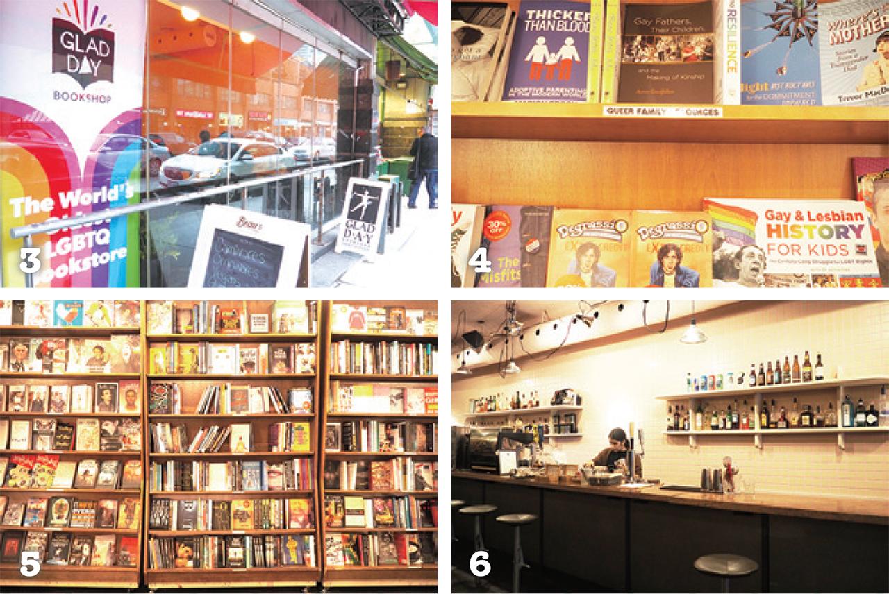 3 一見カフェだが本屋だけの利用も可 4 子ども向けの本もあり幅広い品揃え 5 ずらりと並んだ興味深い本たち 6 バーカウンターではアルコールも販売
