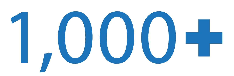 1,000+