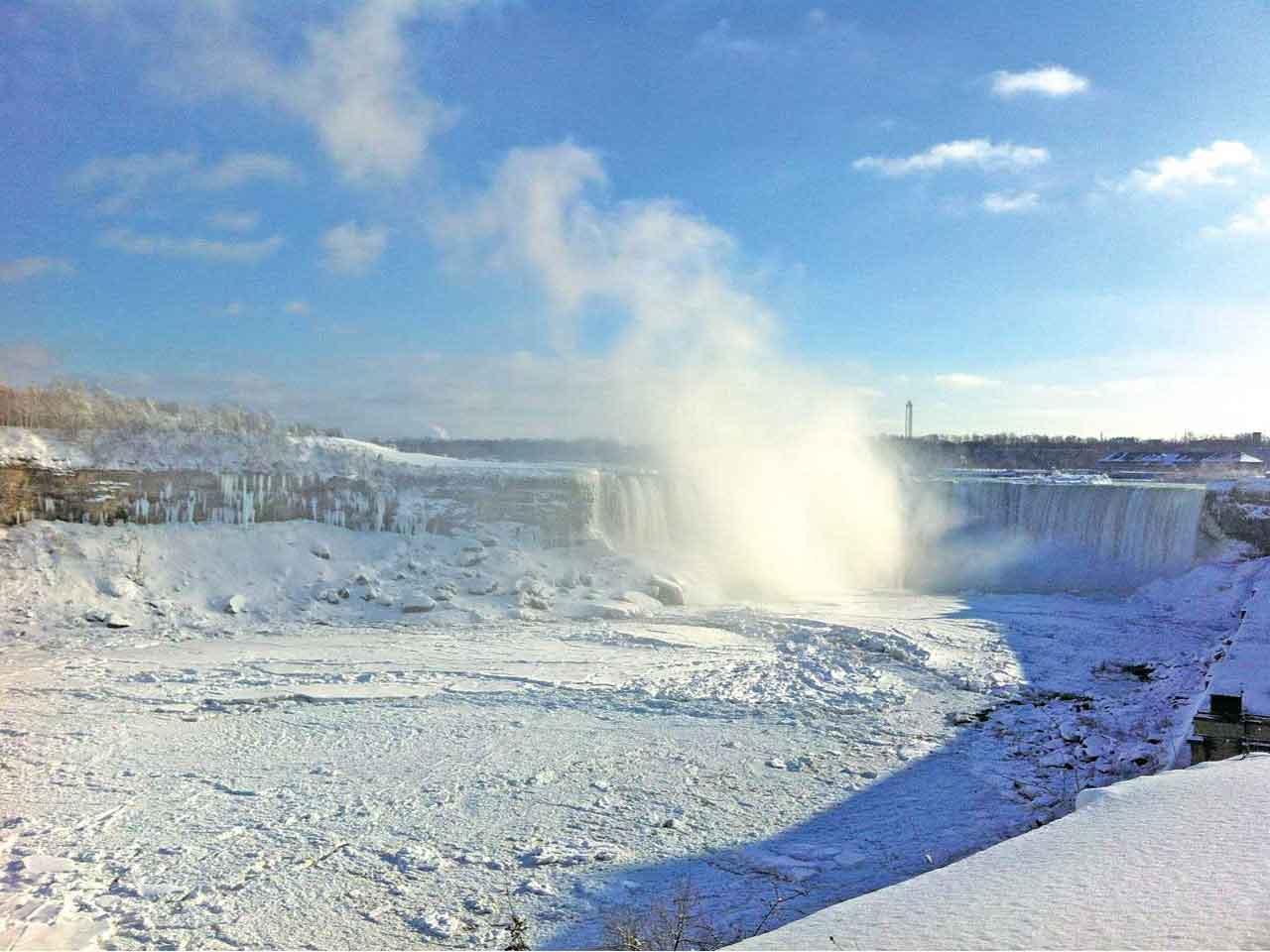 冬のナイアガラの滝は凍り付いてしまいます。ですがすべてが凍り付くわけではありませんので、水しぶきは発生します。