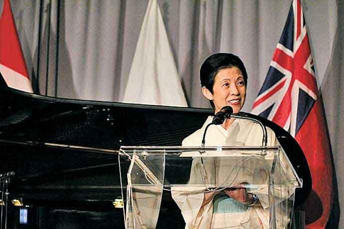 日加修好90周年を記念するガラ・ディナーで基調スピーチをされる憲仁親王妃久子殿下