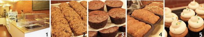 1 暖かい雰囲気の店内の奥で全ての商品が作られている。2 Gypcy cookie($2.00)。3 チョコレートブラウニー。4焼きたてのパン($7.00/1斤)5 マフィンは他にも種類あり($3.50)。