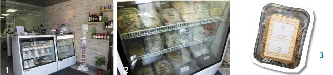 1かわいらしい店内。2豊富な種類のラビオリとニョッキ($4.25~$11.95) 3生パスタのスパゲッティーニ($5.95)