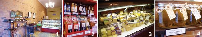 1 レンガ調のかわいい店内。2 オンタリオ産の商品がズラリと並ぶ。3 たくさんの種類のチーズ。4 オーガニックのオリーブオイル。