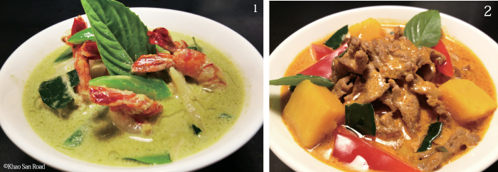 1.Gaeng Kaew Wan(Green Curry) 2.Gaeng Phed(Red Curry) 各$13.00 メインの具材を選べます。