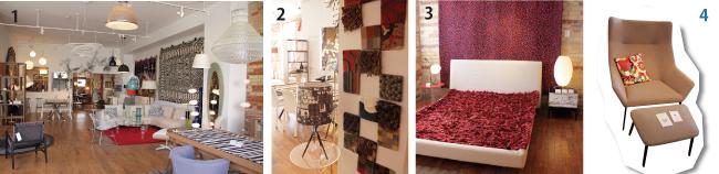 1モダンな家具が並ぶ店内。2かわいいマットのサンプルたち。3落ち葉の絨毯のようなマット。4クールなデザインの椅子と足おき。