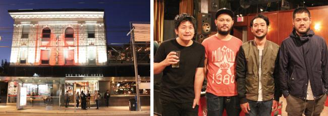 会場のTHE DRAKE HOTEL(左から)美濃隆章さん(G.)、山根敏史さん(B.) 柏倉隆史さん(Dr.)、山嵜廣和さん(G.)