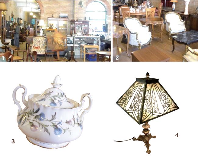 1レトロで暖かみのある店内2かつてはどんな人が使っていたのか想像するのも楽しい。3 BRADLEY&HUBBARD ランプ/ $1250 4アンティーク食器もあります。Tea set全体/ $70
