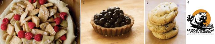 1ラズベリーアップルパイ2ブルーベリータルト3ダークチョコクッキー4お店のイメージロゴ