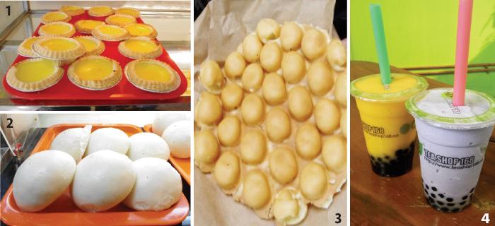 1. エッグタルト。 2. 豆沙包(あんまん)。$1.50(2個) 3. Mini Egg $3.00。たまごボーロのよう な素朴な味。 4. 大人気バブルティー。 左:Ice Crushマンゴー($3.49) 右:シャーベットタロイモ($3.99)