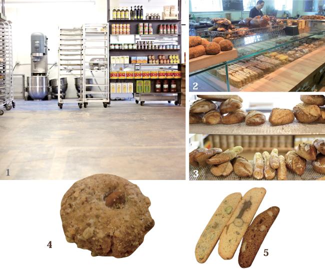 1コンクリート造りのシンプルな店内2選ぶのが難しくなる品揃え3パンもここで焼かれる4アーモンドの香ばしい風味が楽しめるPasta di Mandorla  5種類豊富なBiscottiやCantucci
