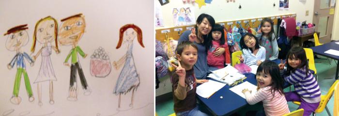 (左)子供たちが被災地に向けて描いた絵の一枚 (右)池端ナーサリースクールの子供たち