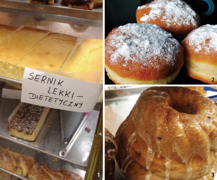 1. たまごたっぷりのSernikという チーズケーキ。2. ポーランドのドーナツpączki(ポンチュキ)。  3. クリスマスに食べるフランス発の伝統 菓子Kuglof(クグロフ)はポーランド人 も大好き。