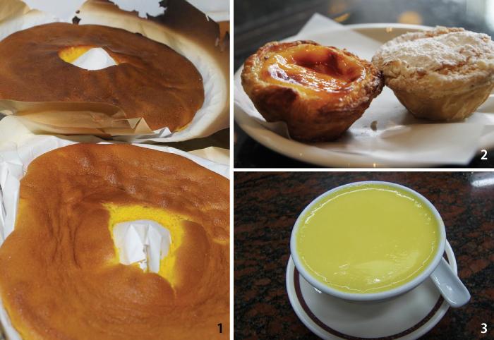 1. Pao de lo(カステラ)。2. Pastéis de Nata。3. Egg Pudding。