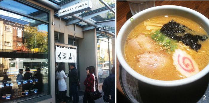 1. バンクーバーではオープン直後から大行列。2. スープにうまくからむ麺がまた素晴らしい。