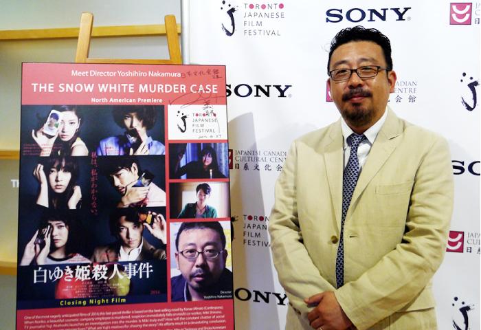 中村義洋監督と上映作品「白ゆき姫殺人事件」ポスター